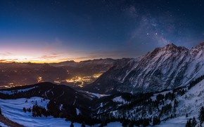 Picture the sky, stars, mountains, night, panorama