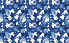 Picture white flowers, blue background, texture, seamless