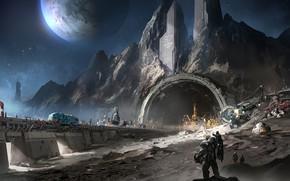 Wallpaper fantasy, Space, stars, man, planet, digital art, artwork, fantasy art, futuristic, mine, mining, convoy