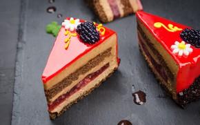 Picture decoration, jelly, cream, chocolate, dessert, cake, glaze