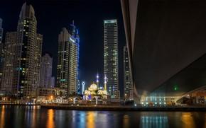 Picture night, the city, lights, Dubai