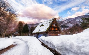 Wallpaper winter, snow, house, Japan, village