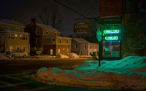 Picture winter, the city, street, the evening, Ground Hog Cafe, Wappingers Falls, West Main St