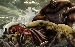 Wallpaper giant, anime, titan colossal, big, titan bestial, to narutorenegado01, Season 2, Shingeki no Kyojin, oriental, ...
