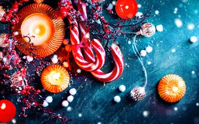 Picture holiday, lollipops, decor, treats, fir-tree branches