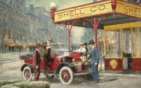 Wallpaper the city, retro, people, car, gas station, 1920, Shell Station