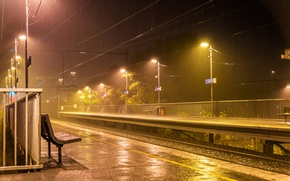 Picture the platform, rails, lights, railroad, night, Australia, benches, lights, rain, Melbourne, Melbourne, wire