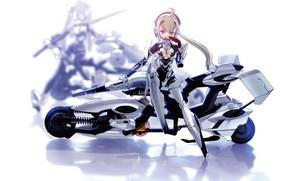 Picture girl, mecha, anime, suit, motorbike, japonese, Busou Shinki