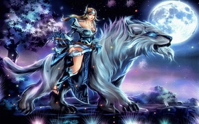 Picture girl, moon, game, star, armor, sky, night, wolf, Dota 2, bow, warrior, Dota, arrow, strong, …