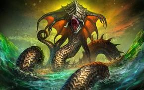 Picture sea, snakes, Art Edit, Sea snakes, Sea snakes