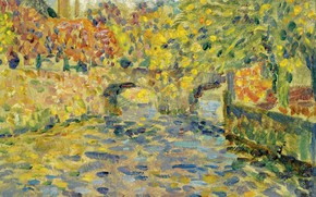 Picture landscape, river, picture, pointillism, Henry Le Sedane Products, Henri Le Sidane, Bridge. Kemper