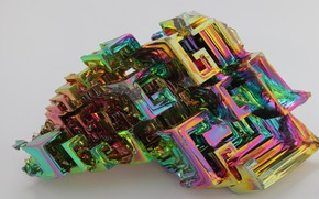 Picture crystal, metal, grey background, bismuth, the game of color, metallic luster, metal texture