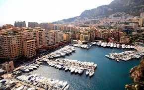 Picture landscape, mountains, home, Bay, yachts, boats, boats, Monaco, piers