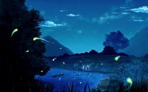 Picture summer, trees, night, children, fireflies, stones, hills, team, river, starry sky, ninja, on the shore, …