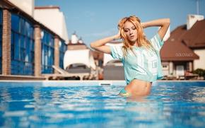 Picture pose, model, pool, hands, figure, t-shirt, SOLOVЬEV, Artem Soloviev, Yulia Matveeva