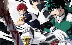 Wallpaper Midori Isuku, Todoroki Shoto, My hero Academy, Boku no Hero Academy, guys, anime