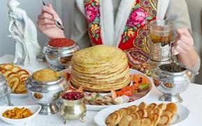Wallpaper cuts, tea, cheesecakes, caviar, Carnival, pancakes