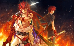 Picture flame, katana, the demon, tattoo, red, sparks, horns, long hair, Japanese clothing, art, red ribbon, …