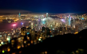 Picture China, skyscrapers, Bay, bokeh, Hong Kong, night city lights