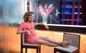 Wallpaper dress, bar, joy, Elena Armin Van Buuren, girl, the hotel, smile, Kitchen, flowers
