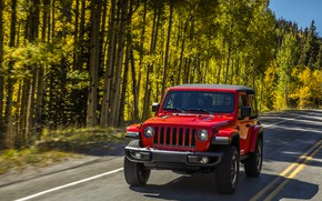 Wallpaper road, greens, trees, red, markup, roadside, 2018, Jeep, Wrangler Rubicon