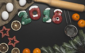 Picture new year, spruce, cookies, citrus, flour