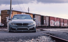 Picture BMW, Front, F82, Sight, Graphite, Railway station, Railroad tracks