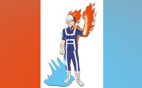 Picture ice, fire, guy, Boku No Hero Academy, Todoroki Shoto, My heroic academia