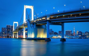 Picture the sky, bridge, lights, river, home, the evening, Japan, Tokyo, lights