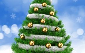 Wallpaper Balls, Christmas, New Year, Tree
