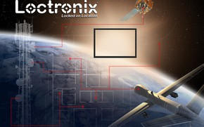 Picture space, planet, stars, camera, Trade show display artwork for Loctronix Corporati