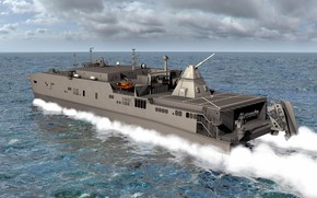 Picture gun, sky, ocean, weapon, cloud, cannon, kumo, USNS Trenton, Electromagnetic Railgun For Aluminium, T-EPF-5, USNS …