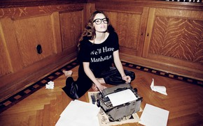 Picture look, girl, paper, sweetheart, model, glasses, leaves, brown hair, on the floor, typewriter, Kristine Froseth, …