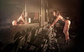 Wallpaper female, fitness, mirror, trainning, workout
