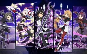 Picture collage, anime, art, Sword art online, Sword Ard Online