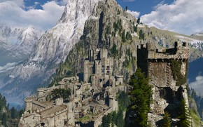 Picture forest, mountains, castle, the witcher 3 wild hunt, Kaer Morhen