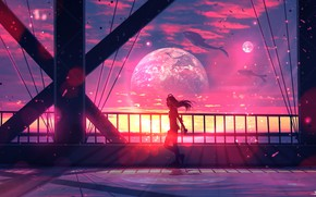 Picture the sky, girl, space, bridge, planet, whales, by ryky