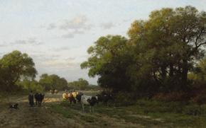 Picture animals, oil, picture, canvas, Julius Jacobus van de Sande Bakhuyzen, Landscape in Drenthe