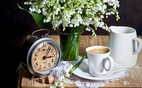 Picture watch, coffee, lilies of the valley, the milkman