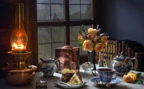 Wallpaper flowers, style, books, tea, window, bouquet, lamp, cake, roses, still life