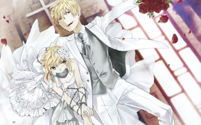 Picture joy, bouquet, chain, costume, Church, art, wedding dress, Saber, the bride and groom, The fate …