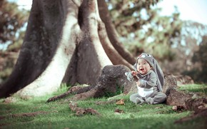 Picture grass, leaves, trees, joy, nature, trunks, hare, baby, costume, child, Derek Zhang