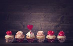 Picture Love, roses, decoration, heart, cream, heart, cakes, Valentine's Day, cupcakes, Elena Schweitzer