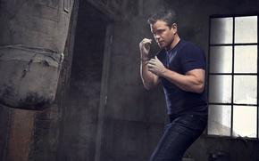 Wallpaper Matt Damon, Matt Damon, photoshoot, pear, fists, Jason Bourne, jeans, Nino Munoz, actor, t-shirt, for ...