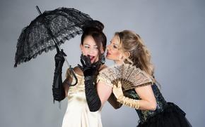 Picture style, retro, umbrella, fan, gloves, model, Milena, dresses, Adriana