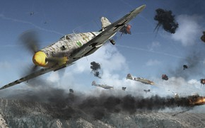 Picture Yak-9u Vs Bf 109G 6, battle, mountains, aircraft, the battle