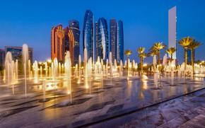 Wallpaper Abu Dhabi, fountain, UAE, home, skyscraper