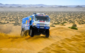 Picture The sky, Sand, Nature, Sport, Speed, Truck, Race, Master, Hills, Lights, Beauty, Russia, Beast, Kamaz, …