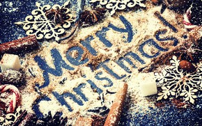 Picture decoration, New Year, Christmas, sugar, nuts, cinnamon, Christmas, wood, Merry Christmas, Xmas, cocoa, decoration