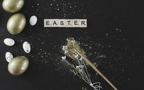 Picture gold, eggs, Easter, Holiday, Orthodox holiday